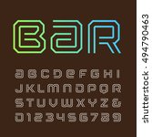 linear font. vector alphabet... | Shutterstock .eps vector #494790463
