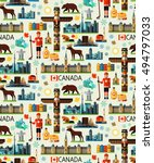 canada travel seamless pattern. ... | Shutterstock .eps vector #494797033