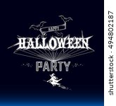 halloween party label on a dark ... | Shutterstock .eps vector #494802187