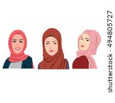 muslim girls avatars set. asian ... | Shutterstock .eps vector #494805727
