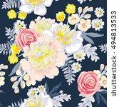delicate bouquets on the dark... | Shutterstock .eps vector #494813533