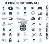 technology innovation icons set.... | Shutterstock .eps vector #494816593