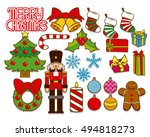 vector set of christmas... | Shutterstock .eps vector #494818273