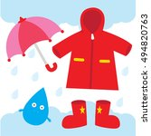a red raincoat  umbrella  and a ... | Shutterstock .eps vector #494820763
