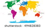 seven continents map with... | Shutterstock .eps vector #494828383