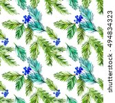christmas seamless pattern with ... | Shutterstock . vector #494834323