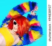 stylish red hair  glamorous... | Shutterstock . vector #494838937