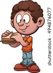 cartoon kid eating a sandwich.... | Shutterstock .eps vector #494876077