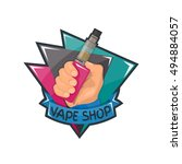 vape shop badge  logo or symbol ... | Shutterstock .eps vector #494884057