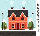 vector illustration of cute... | Shutterstock .eps vector #494884537