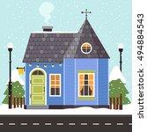 vector illustration of cute... | Shutterstock .eps vector #494884543
