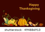 hand drawn doodle thanksgiving... | Shutterstock .eps vector #494886913