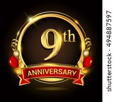 9th anniversary logo with... | Shutterstock .eps vector #494887597