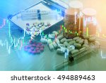 drugs pill and stock chart... | Shutterstock . vector #494889463
