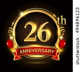 26th anniversary logo with... | Shutterstock .eps vector #494896123