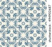 hand drawn vintage damask... | Shutterstock . vector #494902687