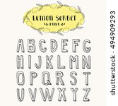 doodle font. hand drawn... | Shutterstock .eps vector #494909293