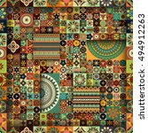 colorful vintage seamless...   Shutterstock .eps vector #494912263