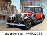 retro car in old city street... | Shutterstock . vector #494922733