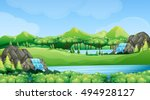 nature scene with waterfalls... | Shutterstock .eps vector #494928127