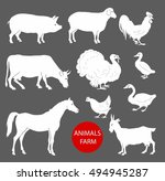 set of farm animals cow  sheep  ... | Shutterstock .eps vector #494945287