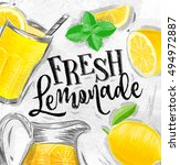 poster with lemonade elements... | Shutterstock .eps vector #494972887