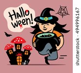 halloween witch with cauldron... | Shutterstock . vector #494996167