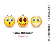 emoticon with happy halloween... | Shutterstock .eps vector #495001567