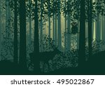 deciduous forest landscape with ... | Shutterstock .eps vector #495022867