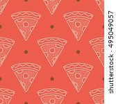 pizza line icon seamless...   Shutterstock .eps vector #495049057