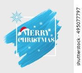 'merry christmas' sign text... | Shutterstock .eps vector #495077797