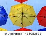 colorful umbrellas background.... | Shutterstock . vector #495083533