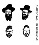 jew in traditional hat hand... | Shutterstock .eps vector #495093847