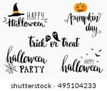 halloween lettering phrases set.... | Shutterstock .eps vector #495104233