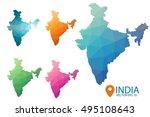 set of vector polygonal india...   Shutterstock .eps vector #495108643