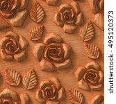 3d pattern  flowers  wood... | Shutterstock . vector #495120373