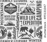 typographic vector mountain and ... | Shutterstock .eps vector #495131047