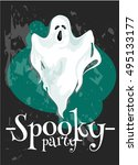 halloween party poster. vector... | Shutterstock .eps vector #495133177