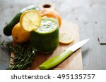 ayurveda green smoothie with... | Shutterstock . vector #495135757