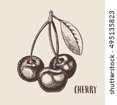 hand drawn sketch style cherry... | Shutterstock .eps vector #495135823