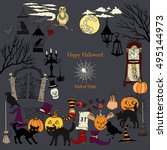 halloween. background with ... | Shutterstock .eps vector #495144973