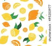 pattern with lemons.oranges ... | Shutterstock .eps vector #495203977