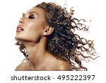 beautiful tan girl with afro...   Shutterstock . vector #495222397