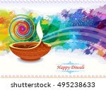diwali lamp with water colored... | Shutterstock .eps vector #495238633