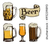 set of beer glasses. hand drawn ... | Shutterstock . vector #495239893