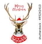 watercolor illustration of deer ... | Shutterstock . vector #495242413