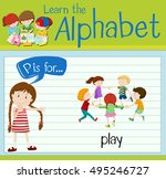 flashcard letter p is for play... | Shutterstock .eps vector #495246727