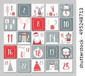 advent calendar. christmas... | Shutterstock .eps vector #495248713