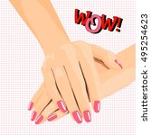 female hands with a beautiful... | Shutterstock .eps vector #495254623