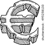 euro sign damaged  vector  | Shutterstock .eps vector #495258133